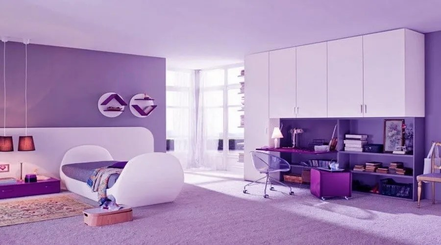 10 Lovely Violet Girls Bedroom Interior Design Ideas
