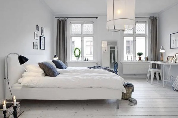 scandinavian bedroom design grey 10 White and Gray Bedroom Interior Design Ideas - https