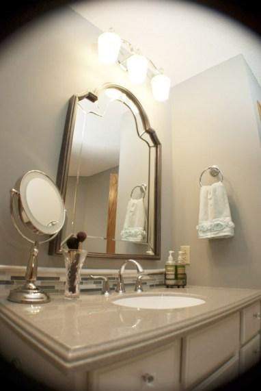 mirror vanity solid surface tile backsplash