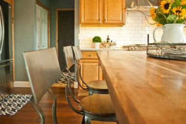 After: Butcher Block tops the Island with warmth and function
