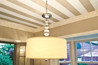 New chandelier & striped ceiling