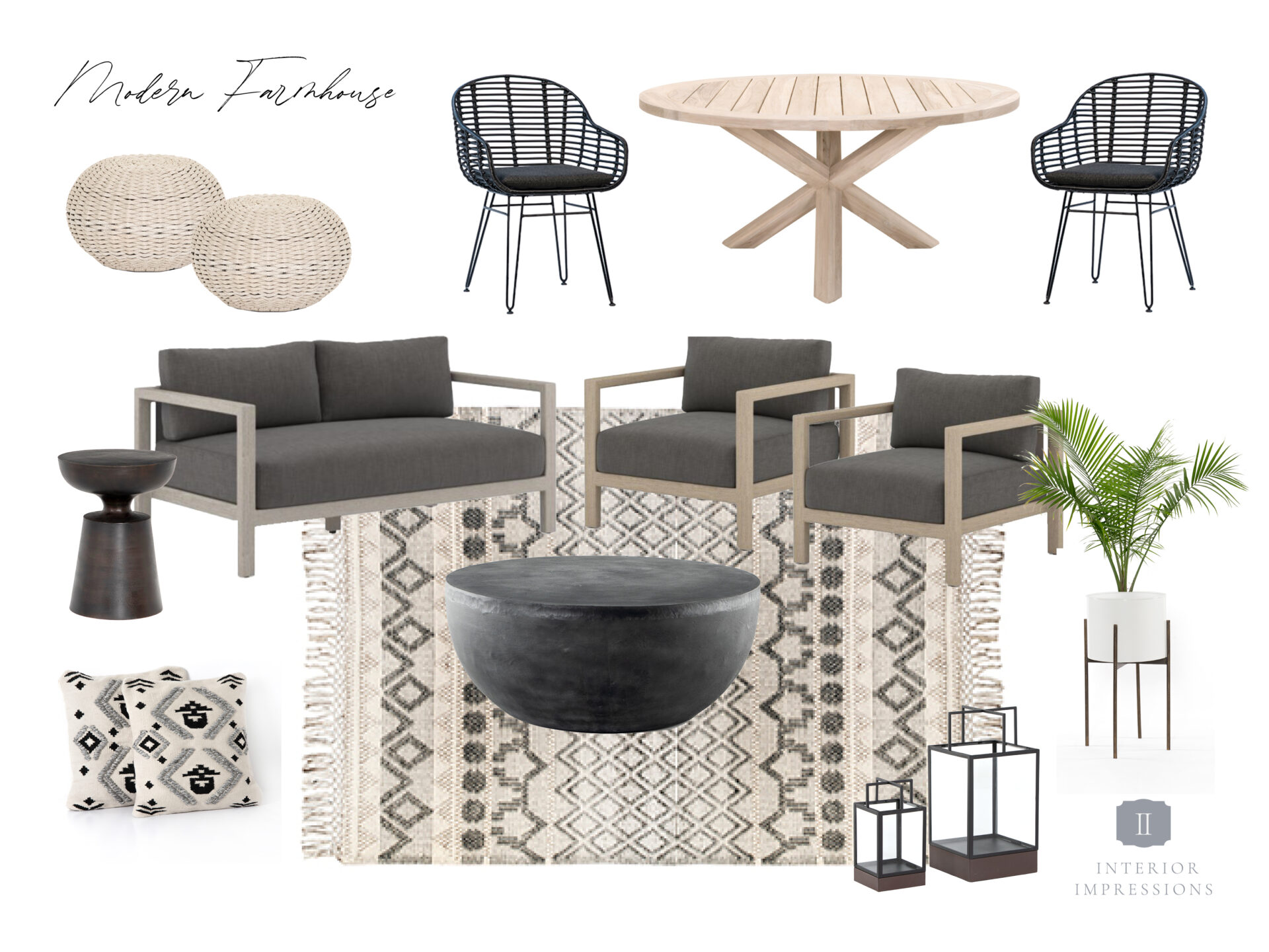3 outdoor furniture mood boards for