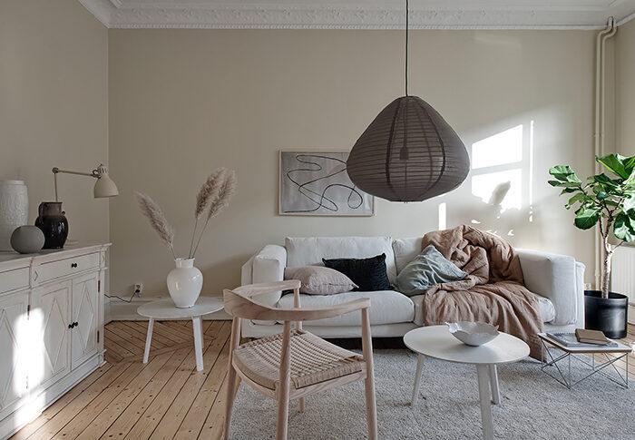 warm tones living room white sofa
