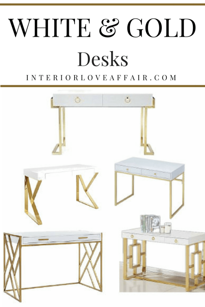 white and gold desks