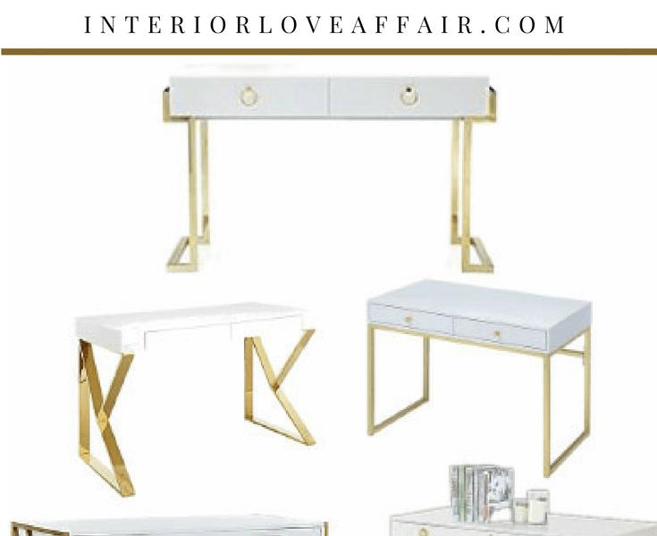 white and gold desks