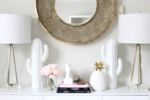 white gold blush home office