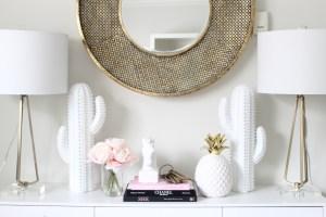 white gold blush home office