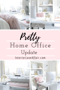 blush white and gold office decor