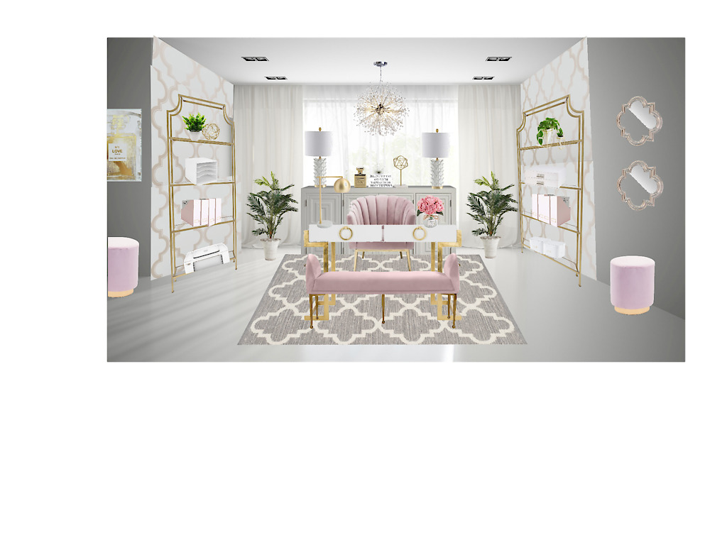 blush and gold home office design board