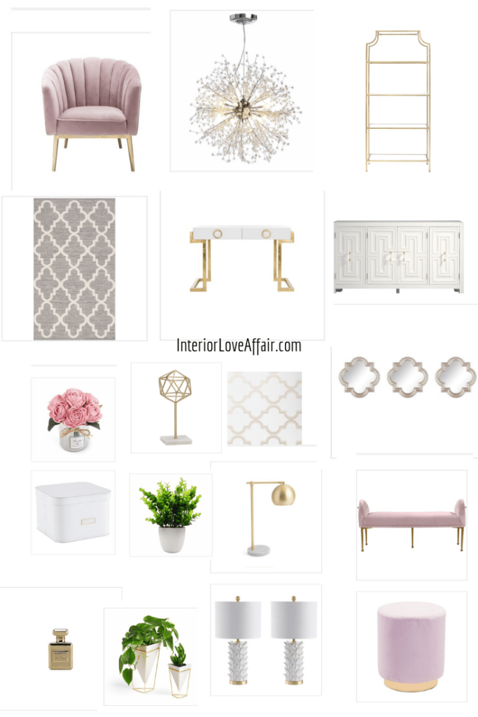 blush office design moodboard