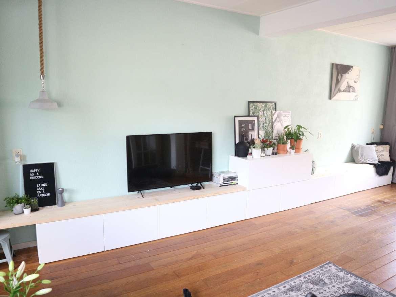 saaie muur opleuken ikea besta hack ikea diy tv meubel tv kast eetbank zitbank dressoir