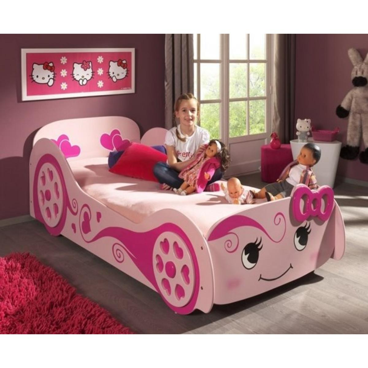 Girls Pink Racing Car Bed With Smiley Face