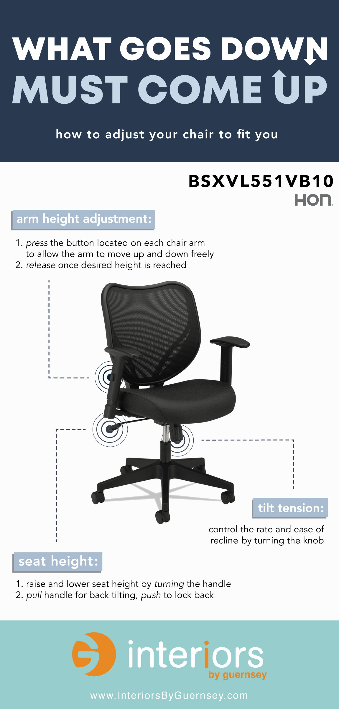 How To Adjust Office Chair How To Adjust Your Office Chair Infographic Interiors By Guernsey