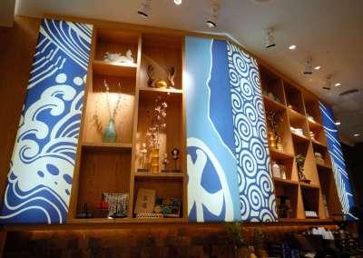 Casual Asian Restaurant and Sushi Bar Interiors