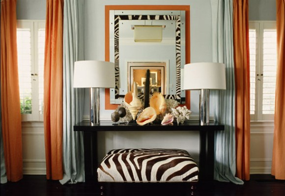 Zebra Mirror and Bench