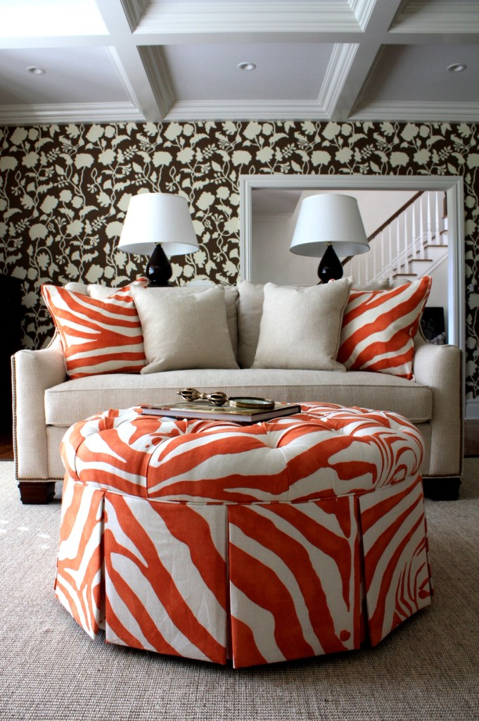 Orange Zebra Ottoman