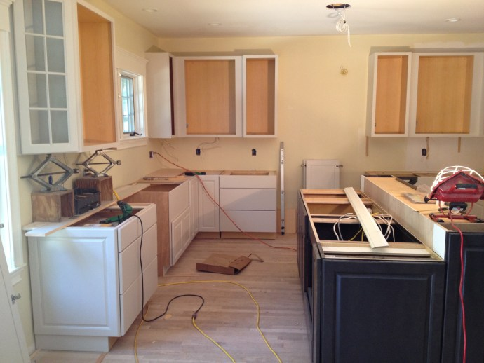 Upper Cabinets in Place