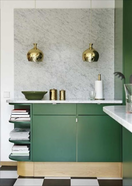 Emerald Green, Brass & Carrara Marble