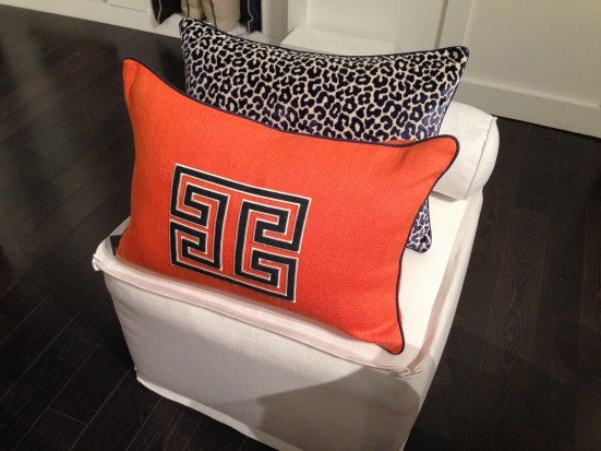 Ryan Studio Fret Applique Pillow | #hpmkt Spring 2014 | via Interiors For Families