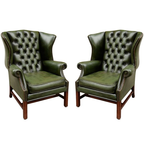 Green Tufted Leather Wing Chairs - via 1st Dibs