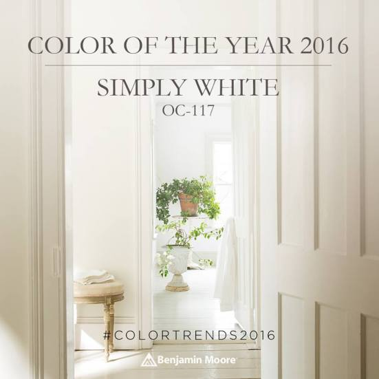"Benjamin Moore 2016 Color of the Year ""Simply White"" 