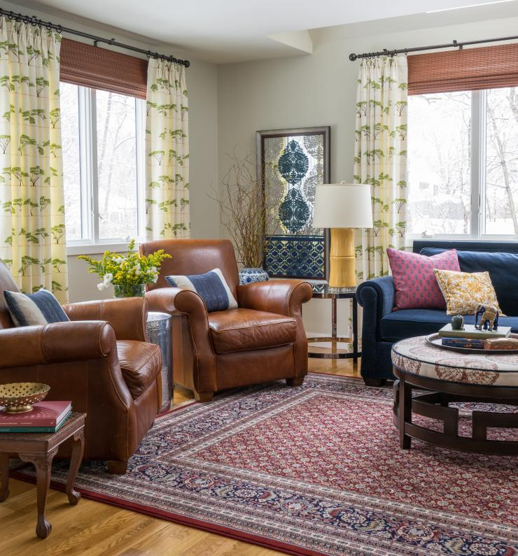 Room Reveal: A Colorful Living Room Reboot with Global Influences | Kelly Rogers Interiors | Interiors for Families