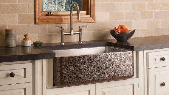 Friday Family-Friendly Find: Stone Forest Copper/Stainless Steel Farmhouse Sink | Interiors for Families