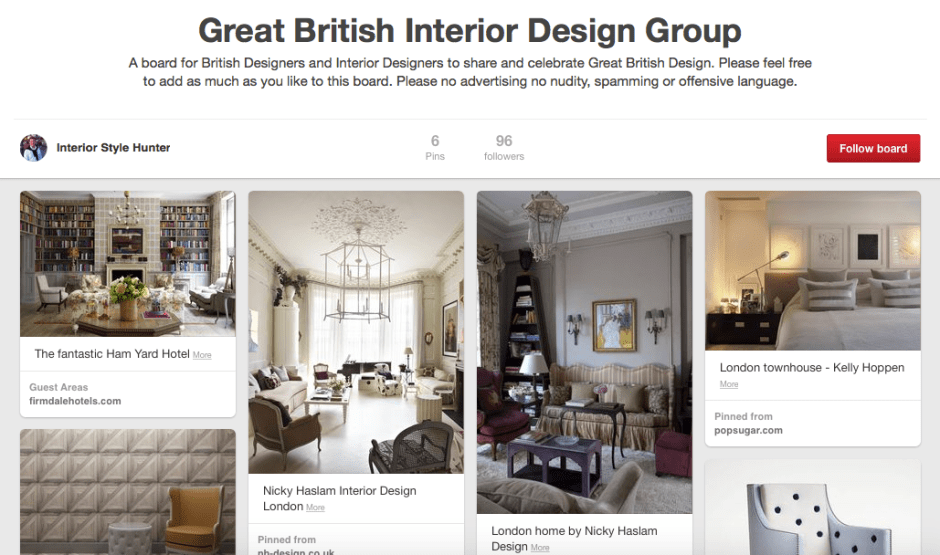 Join the great british interior design pinterest group for Great british interior design