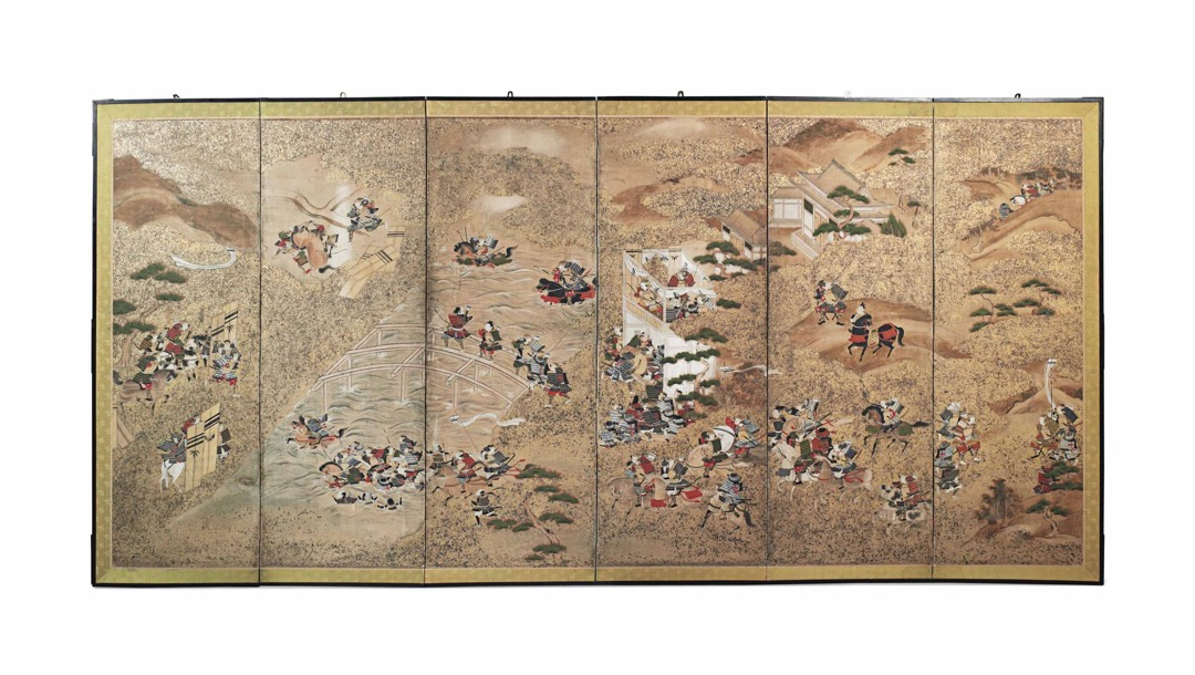 A JAPANESE SIX-FOLD PAINTED PAPER SCREEN EARLY 20TH CENTURY