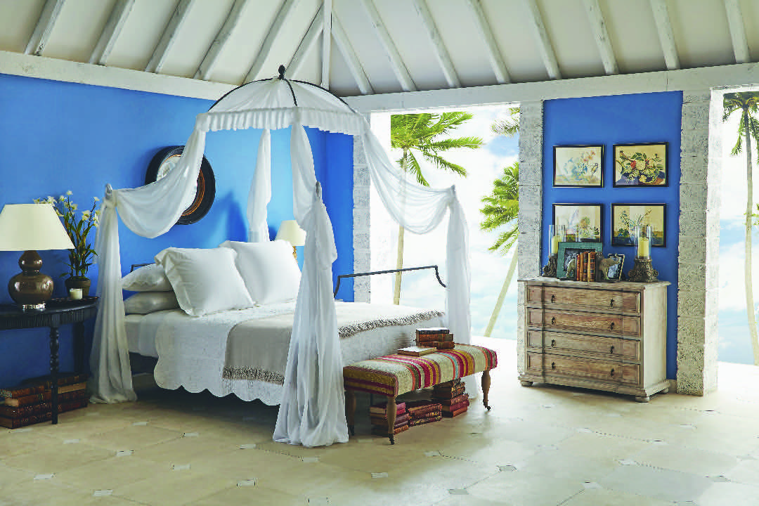 OKA Oscar de la Renta blue bedroom