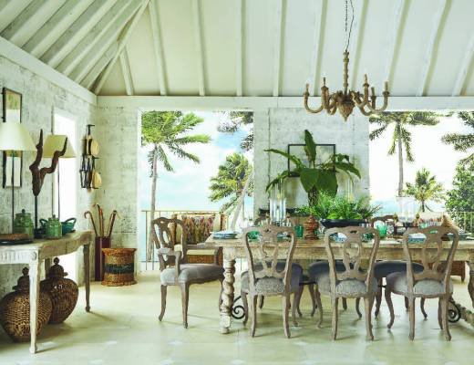 OKA Oscar de la Renta tropical beach house dining room