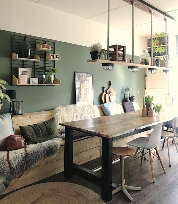 Geliefde houten plank boven eettafel als lamp mijnhuis_enzo-1 | InteriorTwin @CD87