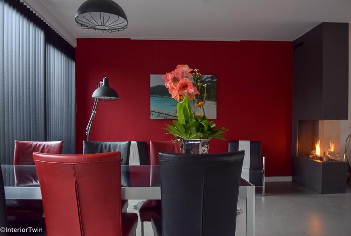 zwart rood antraciet interieur