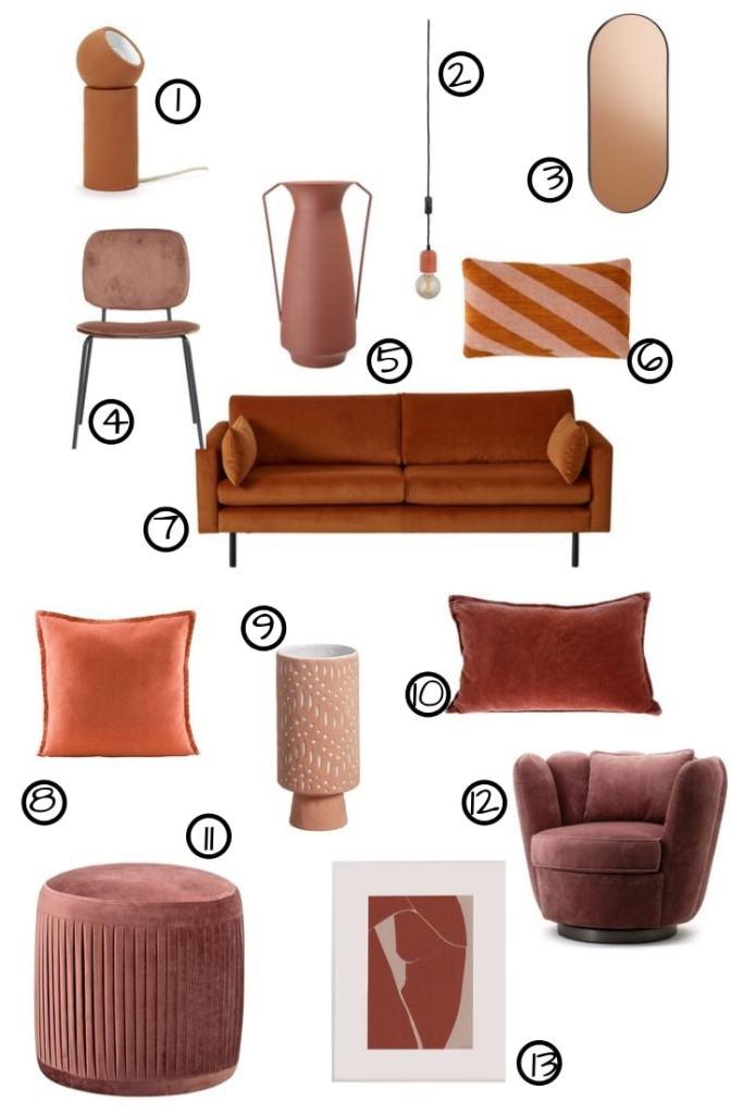 meubels en accessoires in trendkleur terra
