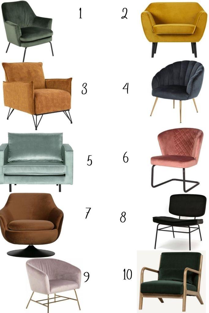kleuren velvet fauteuils