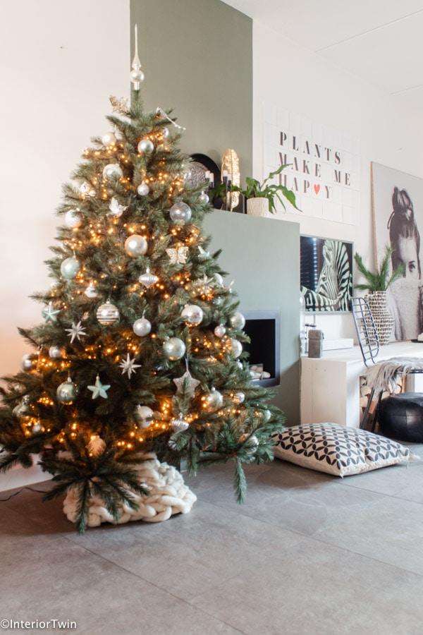 kerstboom wit zilver groen