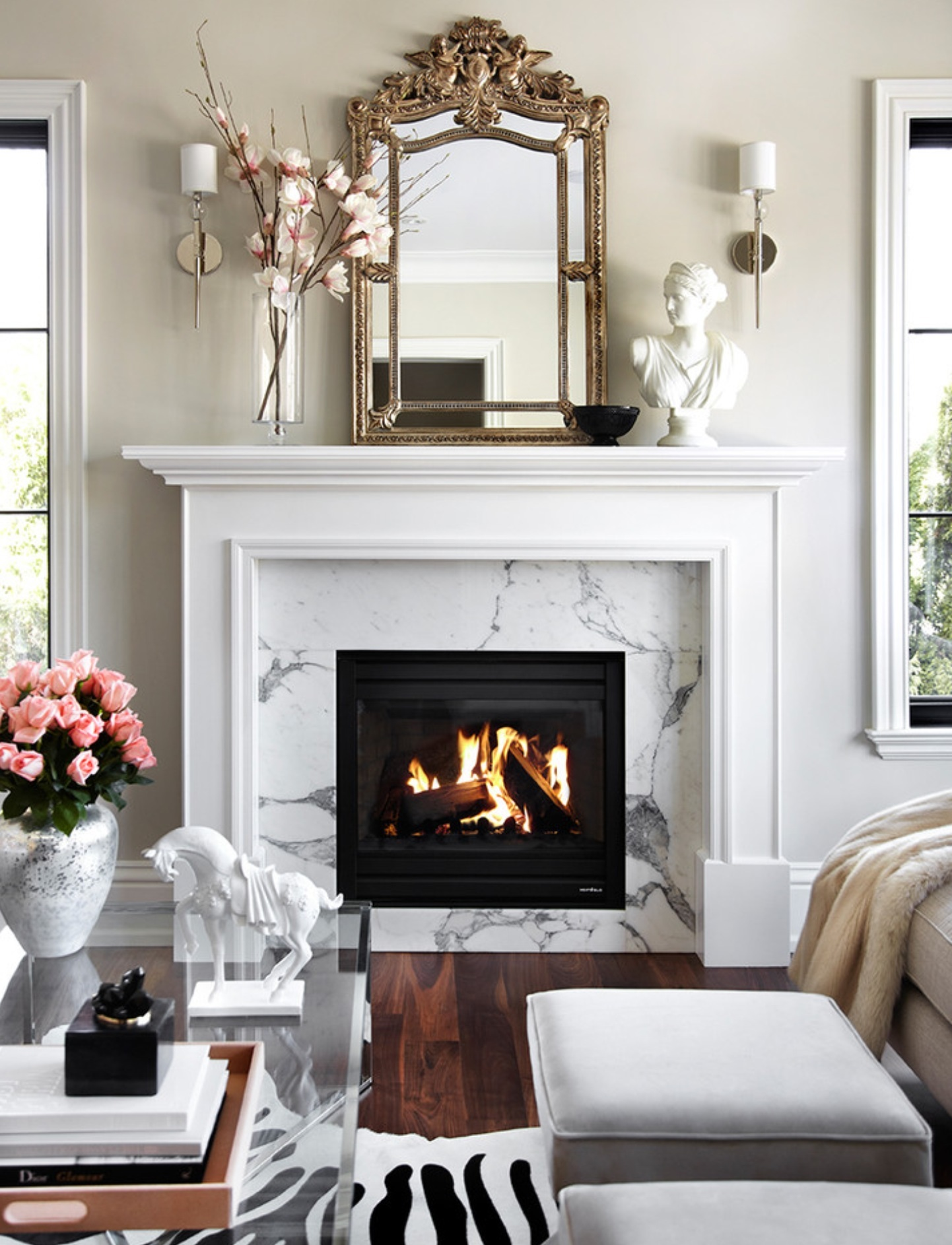 40 Beautiful Living Room Designs With Fireplace  Interior
