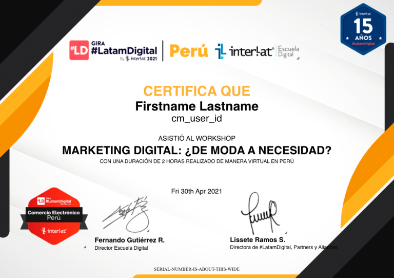 Certificado Gira #LatamDigital Perú