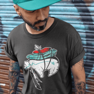Zuni Fetish Bear with Turquoise and Coral Offering T-Shirt