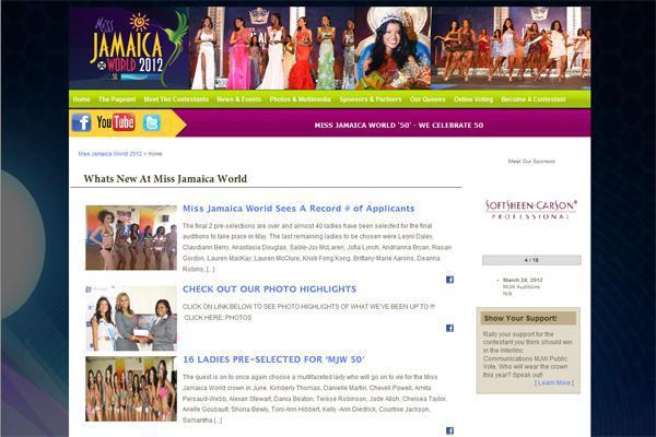 Miss Jamaica World, Website Development