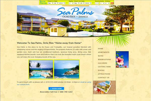 Website for Sea Palms Jamaica