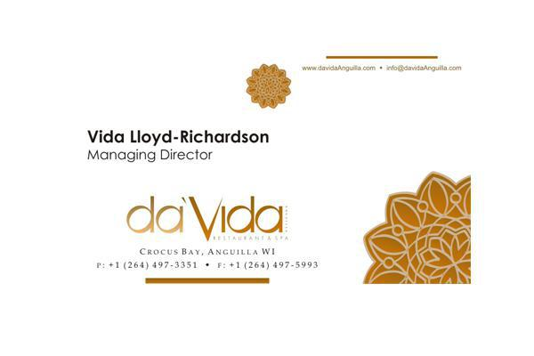 Business cards for da'Vida Anguilla