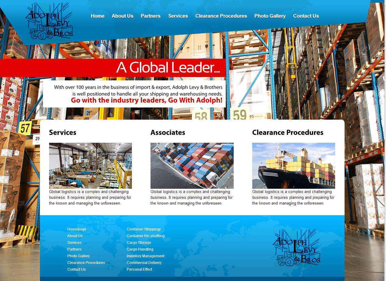 Adolph Levy & Brothers - website design screenshot