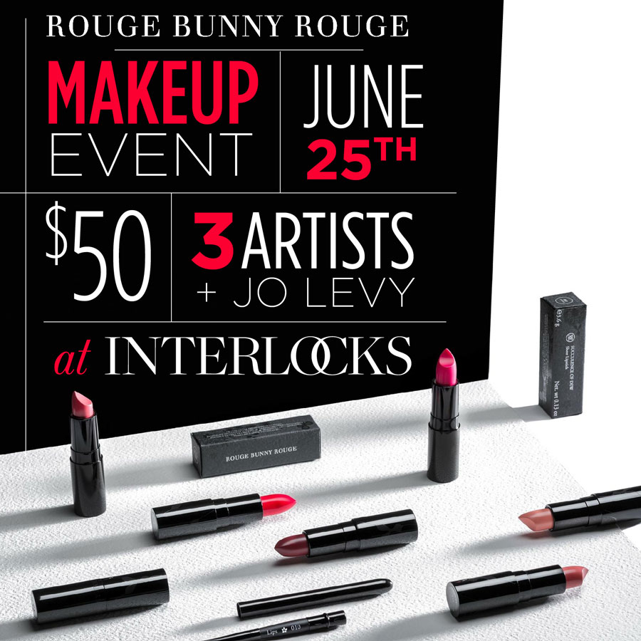 Rouge Bunny Rouge Makeup Event flyer