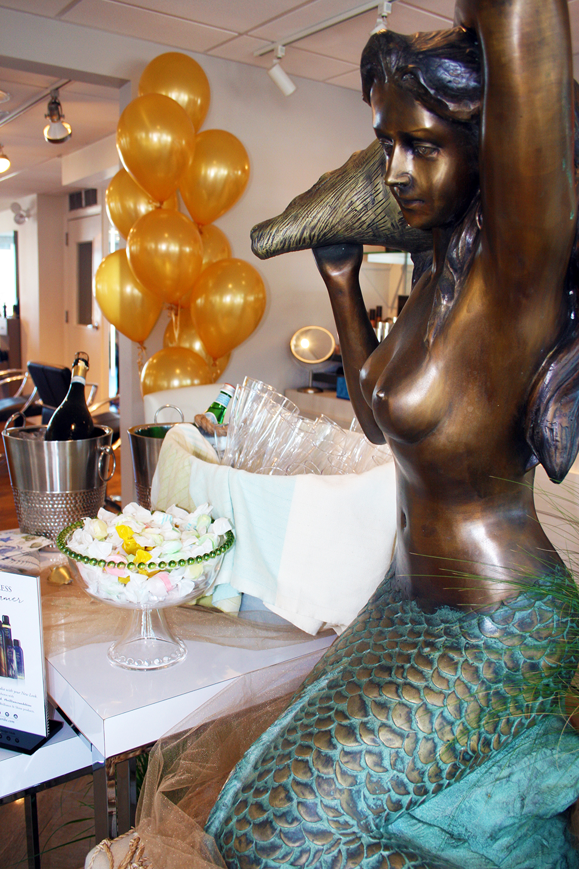 mermaid display table at INTERLOCKS Effortless Summer hair and makeup event