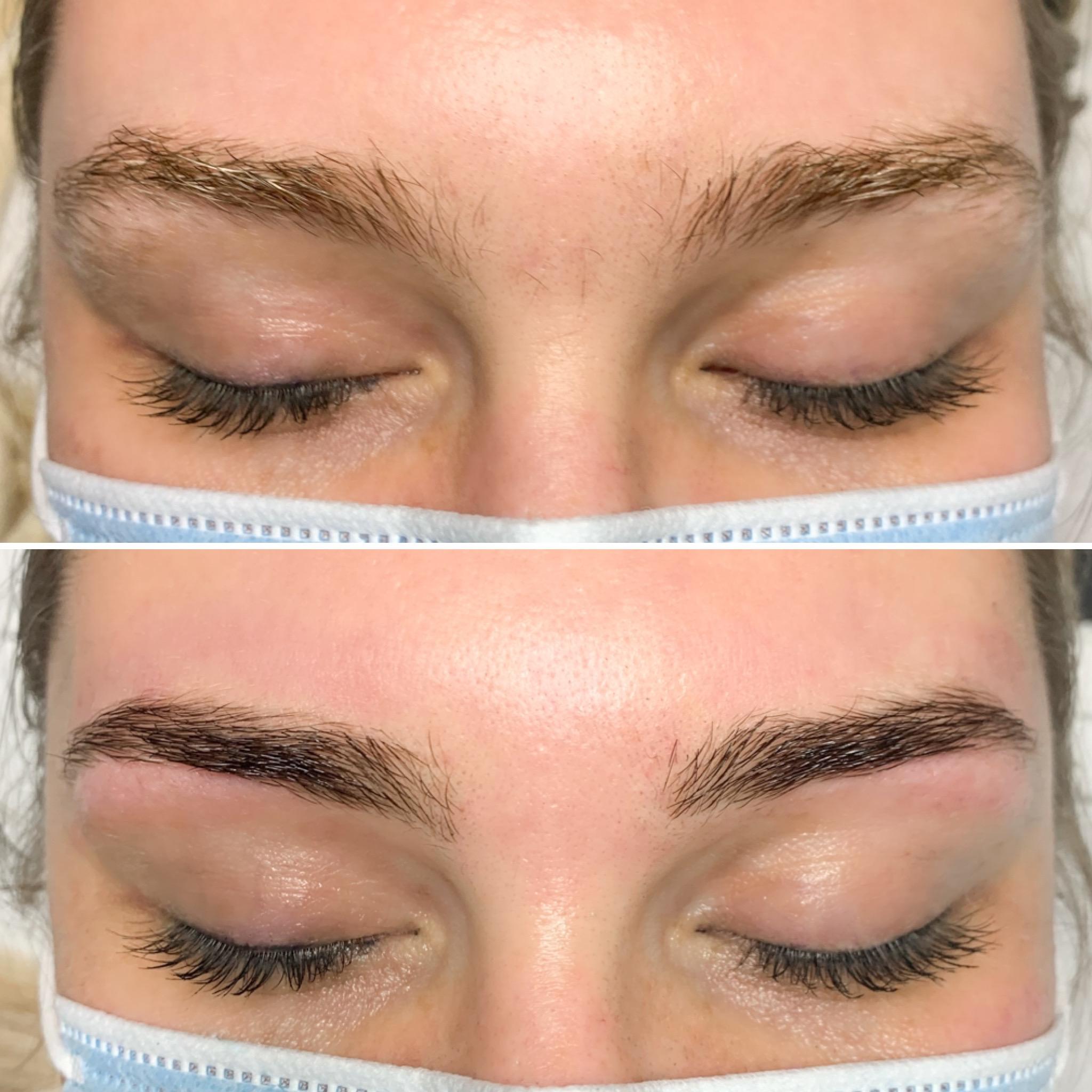 Lauren Rachael brow wax tint before after