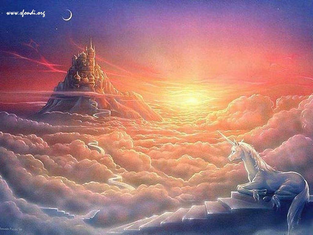 Unicorno in un meraviglioso paesaggio fantastico  IntermarketAndMore