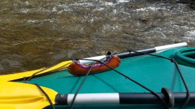 """Before we launched we found a small canoe in the river - our """"Wilson"""" for the journey."""