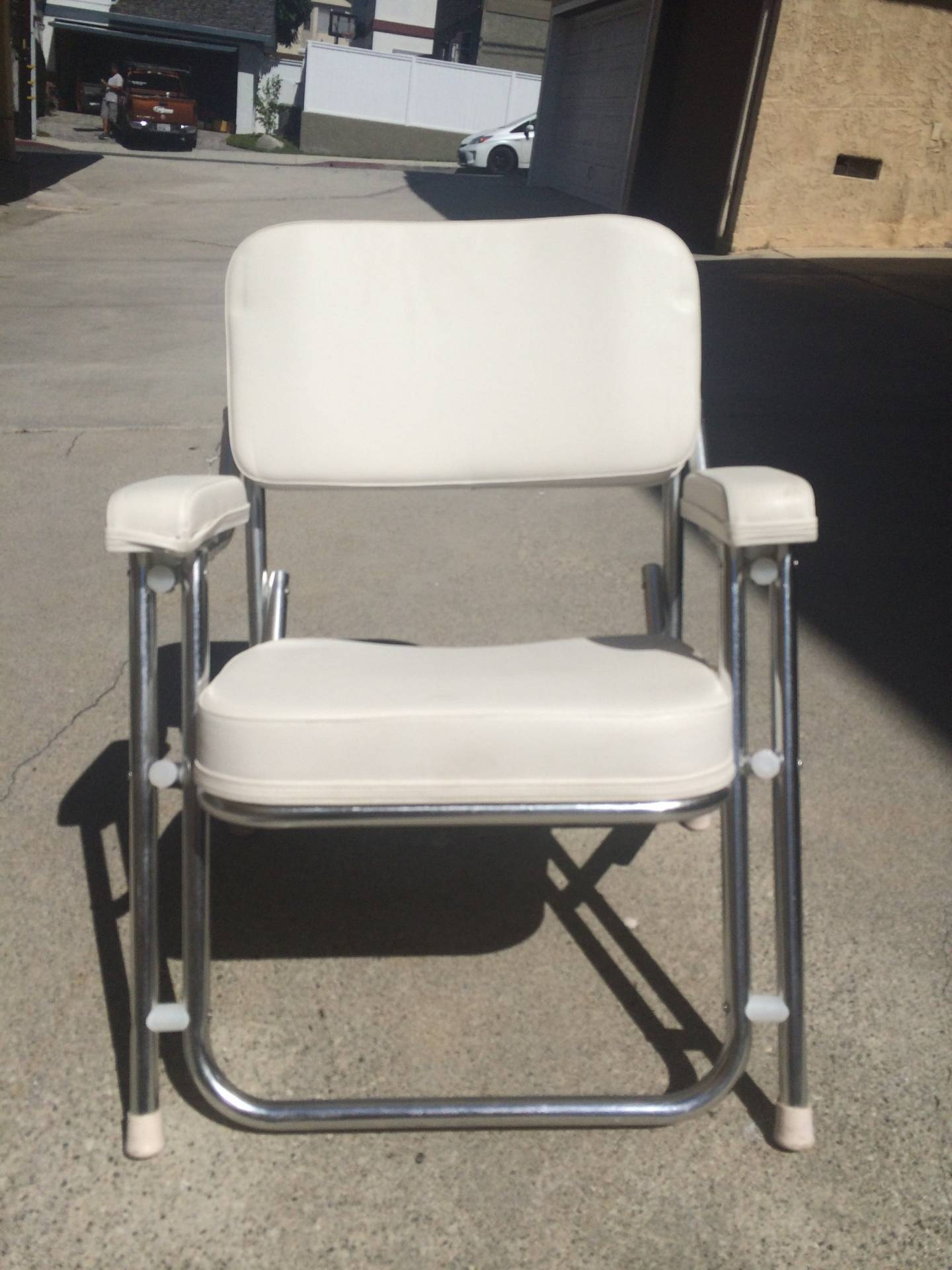 Two West Marine Aluminum Cushion Deck Chairs