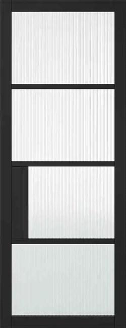 LPD Chelsea 4L Reeded Primed Plus Black Reeded Glazing Internal Glazed Door 1